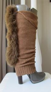 Jambière de fourrure , tricot mélange de coton et lainage, fourrure de renard